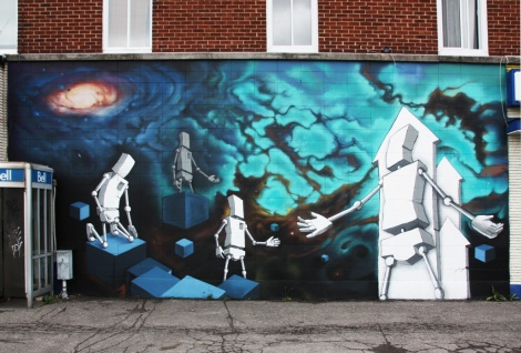 collaboration mural between Luc Bouchard and Haks in Rosemont