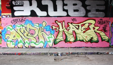 Amok (left), Hater (right) and Kube (above) at the Rouen legal graffiti tunnel