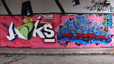 Haks (left), Capes (right) and Nemo (character top right) at the Rouen legal graffiti tunnel