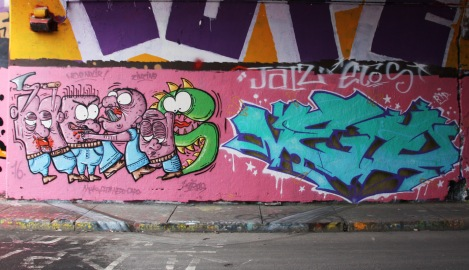Heras (left) and Veto (right) at the Rouen legal graffiti tunnel