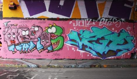Heras (left) and Veto (right) at the Rouen legal graffiti tunnel