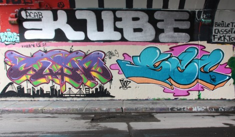 Clasp (left), Sec (right) and Kube (above) at the Rouen legal graffiti tunnel