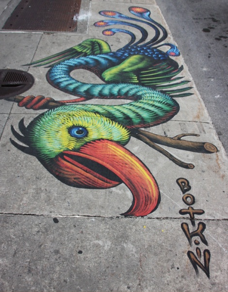 sidewalk piece by Jason Botkin for the 2016 edition of Mural Festival
