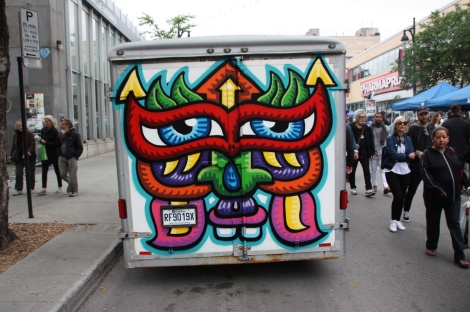 back of truck painted by Chris Dyer for the 2016 edition of Mural Festival