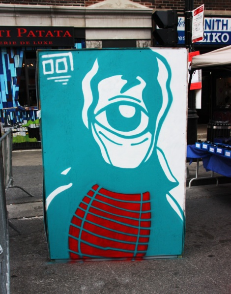 Germdee on the reverse of an information board for the 2016 edition of Mural Festival
