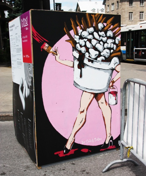 Hot Sluts 'n' Poutine on the reverse of an information board for the 2016 edition of Mural Festival
