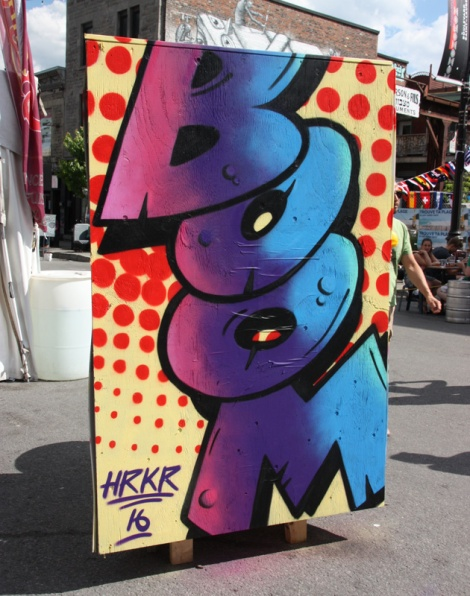 HRKR on the reverse of an information board for the 2016 edition of Mural Festival