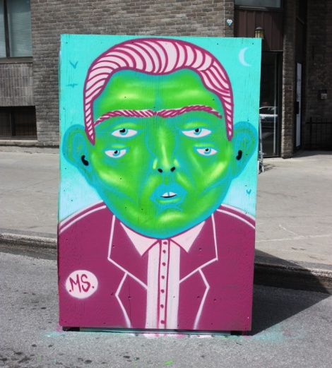 Mono Sourcil on the reverse of an information board for the 2016 edition of Mural Festival