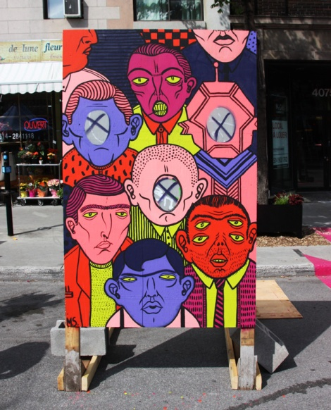 "Mono Sourcil on""your face here"" board for the 2016 edition of Mural Festival"