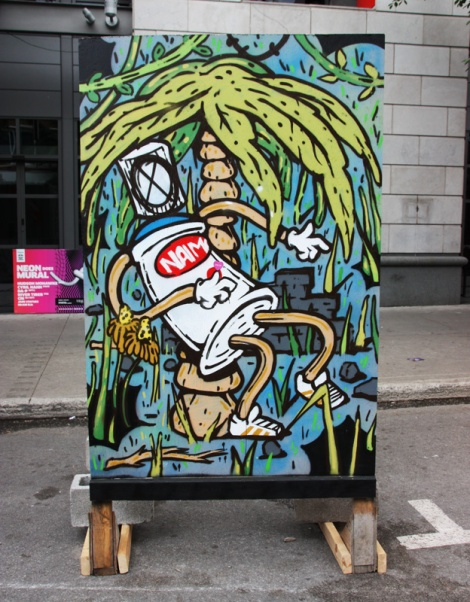 """Naimo on """"your face here"""" board for the 2016 edition of Mural Festival"""