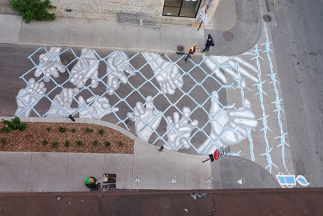 Roadworth for the 2016 edition of Mural Festival; photo © Roadsworth