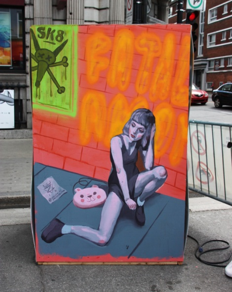 Zoltan V on the reverse of an information board for the 2016 edition of Mural Festival
