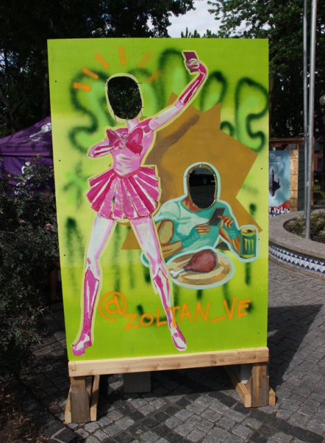 "Zoltan on ""your face here"" board for the 2016 edition of Mural Festival"