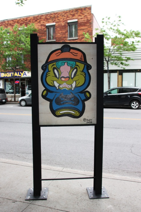 Andy Dass on sidewalk panel on Amherst for the 2016 edition of the MTL En Arts festival