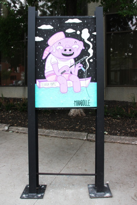 Mirabolle on sidewalk panel on Amherst for the 2016 edition of the MTL En Arts festival