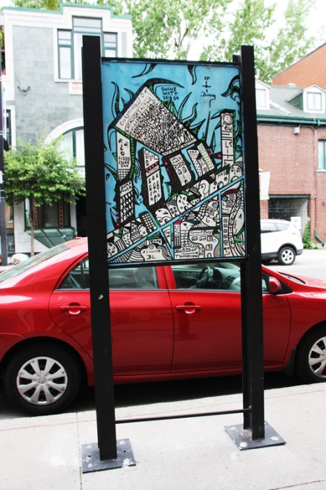 Shane Watt on sidewalk panel on Amherst for the 2016 edition of the MTL En Arts festival