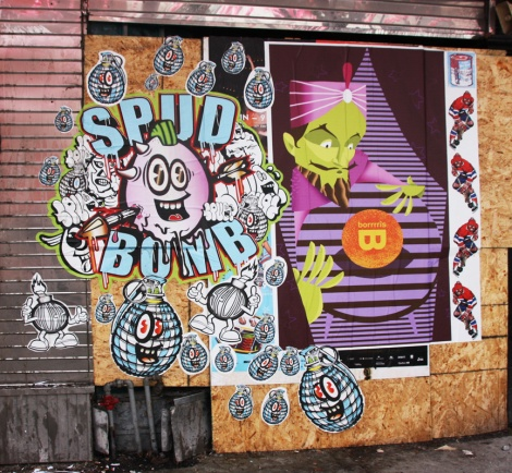 Spudbomb (left), Borrrris (right) and WhatIsAdam (far right) wheatpastes on the boarded Club Sandwich hotel complex for the 2016 edition of the MTL En Arts festival