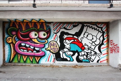 Chris Dyer (left) and Germdee (right) doing their versions of Bart Simpson