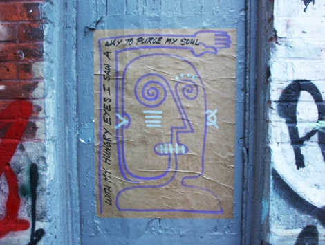 Paste-up by unidentified artist in the alley between St-Laurent and Clark