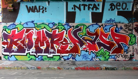 Bomr (left) and Nasp (right) at the Rouen legal graffiti tunnel