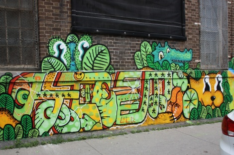 Hitem's part in a multi-artist mural project for Sun Youth, with a few creatures by Waxhead