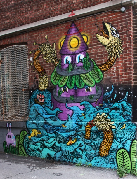 SBU One and Waxhead' part in a multi-artist mural project for Sun Youth