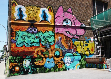 Waxhead, Cryote, Peru, Meor, Gets, Pound Puppy, etc in a multi-artist mural project for Sun Youth