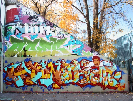 "Pask (bottom left) and Bosny (bottom right) at the 2015 Halloween jam at the Rouen legal graffiti tunnel, paying tribute to Dylan Ford ""Jays Funk"", Mitchell Bracken-Guenet ""Aber"" and Ricardo Conesa who were killed 5 years before at the Turcot yard. Also visible above is a piece by Aces"