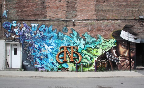 Tribute mural to Bad News Brown by A'Shop featuring Saer, Fluke and Zek