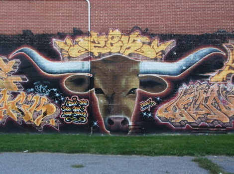 Zek in Hochelaga, detail or a larger mural involving other artists