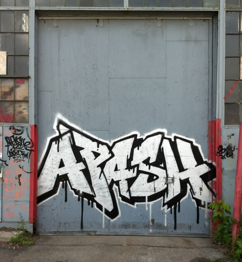 Apashe on delivery door of an abandoned building in the South West
