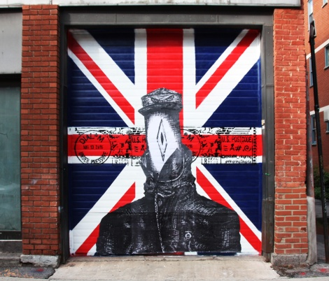 Wheatpaste over painted door by Dial M for the 2016 edition of Under Pressure