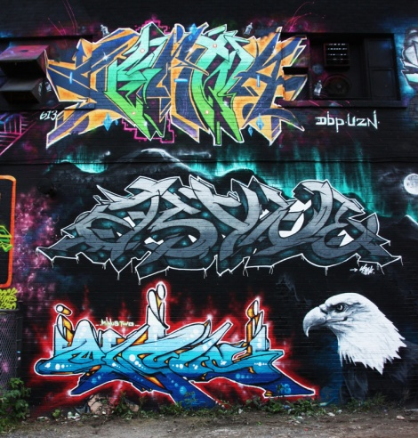 Serna (top), Asyne (middle), Minus Two (bottom letters) and Rouks (bird) for the 2016 edition of Under Pressure