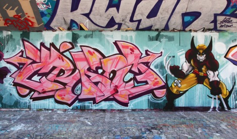 Crane (left) and Axe Lalime (right) at the PSC legal graffiti wall