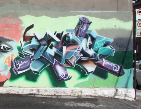 Hsix piece on a multi-artist wall in the Plateau