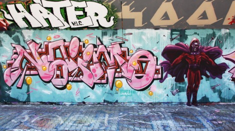 Naimo (letters) and Axe Lalime (character) at the PSC legal graffiti wall