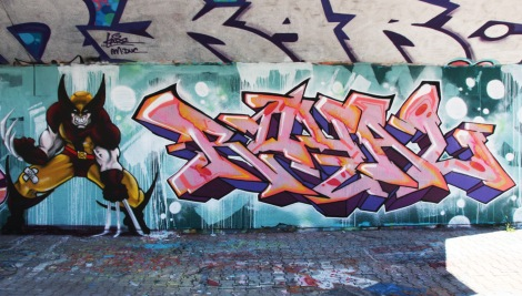 Royal (letters) and Axe Lalime (character) at the PSC legal graffiti wall