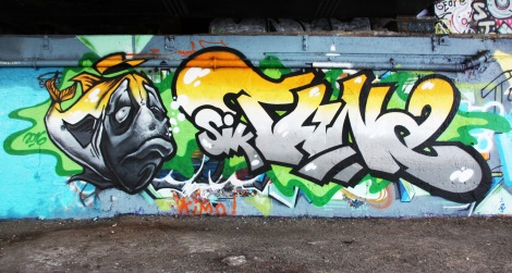Tuna (letters) and Snikr (fish) at the Papineau legal graffiti wall