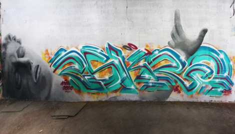 Eskro (letters) and Apok (character) in an abandoned building in Côte des Neiges