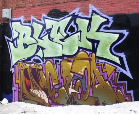 Blek (top) and Debza (ground level) on a Plateau wall