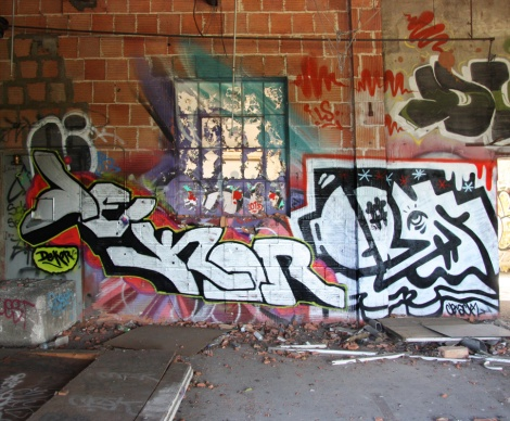 "Dekor (left) and Crack (right) inside the abandoned ""Jailspot"""