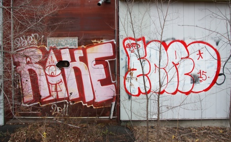 "Rake (left), Ecro (right) outside the abandoned ""Jailspot"""