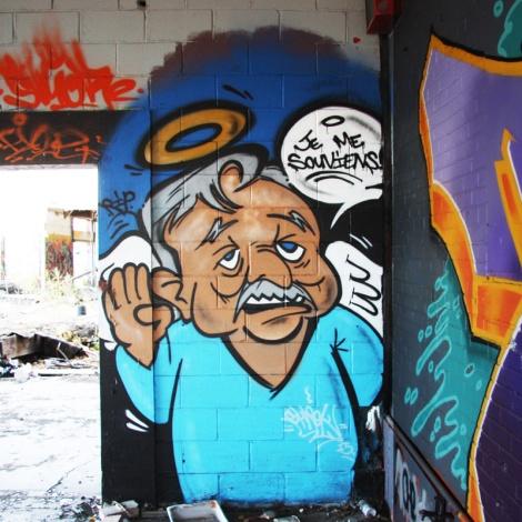 "Shrek One tribute to Jacques Parizeau inside the abandoned ""Jailspot"""