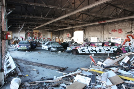 "general view of the ""car showroom"" inside the abandoned ""Jailspot"""