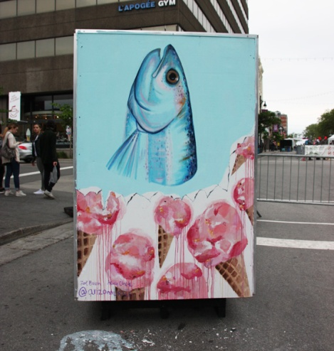 Arizo (Zoe Boivin, Ariane Coté) on reverse of info/ad board for the 2017 edition of Mural Festival