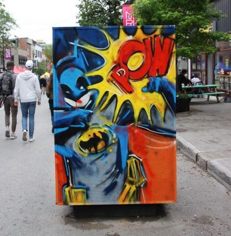 IAmBatman on reverse of info/ad board for the 2017 edition of Mural Festival