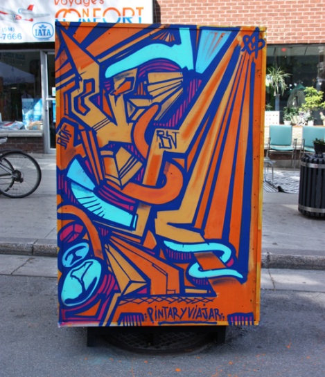 Pintar y Viajar on reverse of info/ad board for the 2017 edition of Mural Festival