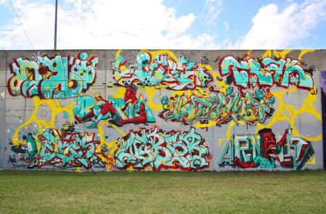 203 crew wall for Festival de Canes, featuring, from left to right and ground up: Ekes, Nybar, Arnold, Borrris, Naimo, Hitem, Lyfer and Trak.