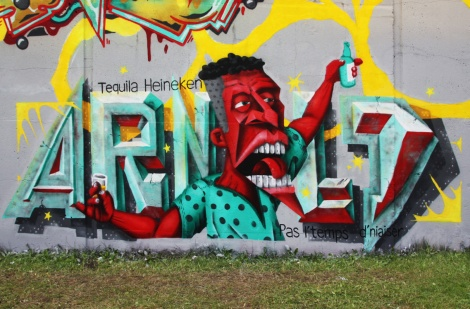 Close-up on Arnold's piece on the 203 crew wall at Festival de Canes