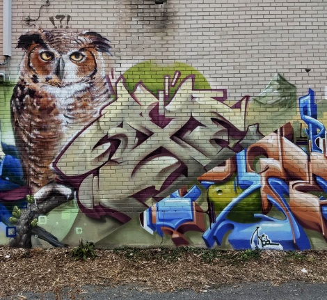 Axe (letters) and Arpi (owl), detail from a long K6A crew collective wall